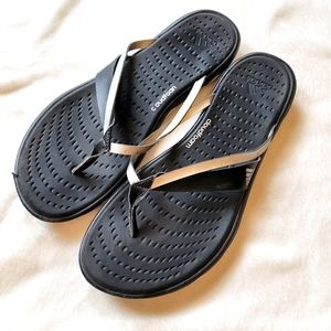 Adidas Cloudfoam sandals flip flops black sz 9